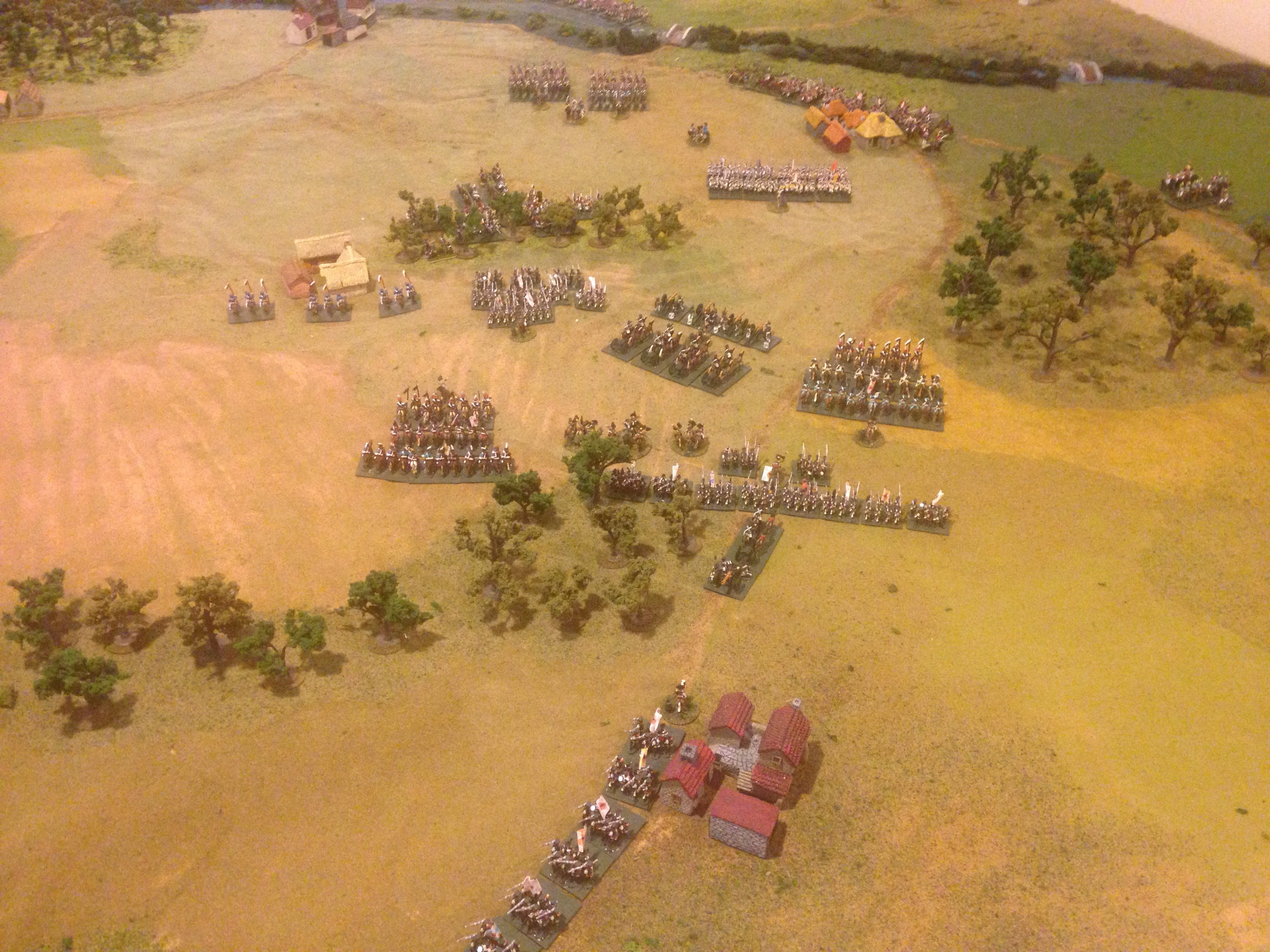 Allied left wing: two corps of Russians with supporting cavalry and a grand battery formed in their center.