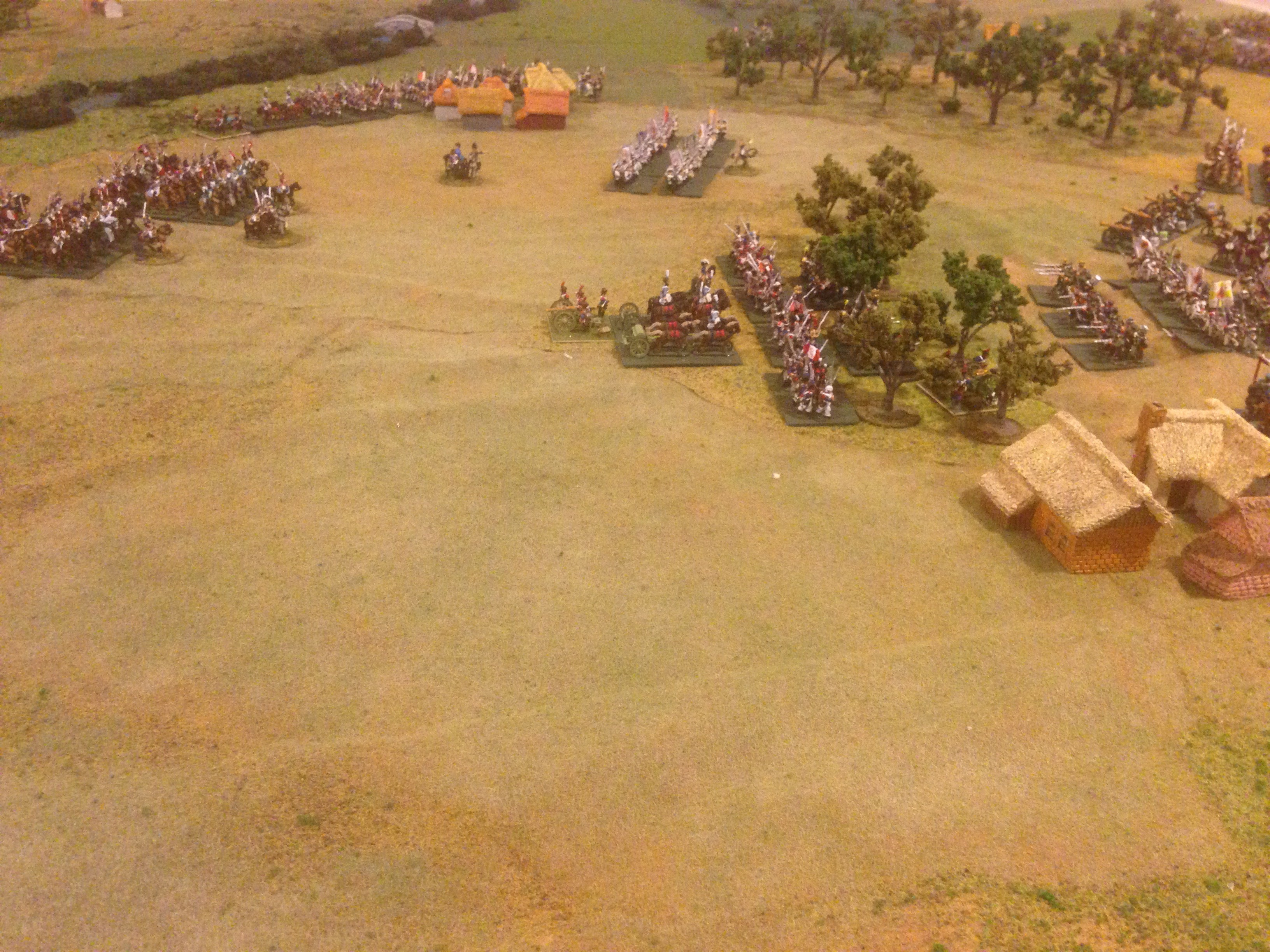 Opposing forces on the Allied left, French and Saxons infantry forming to oppose the deep Russian deployment.