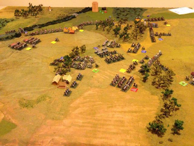 Overview of the battlefield after the turn one, looking from the Russian left rear across.