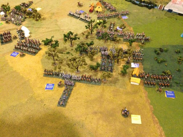 The Prussian corps makes slow progress through the woods as the French bide their time deploying a second division.