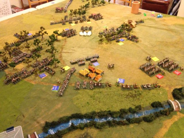 Overview of the battlefield after turn two, looking from behind the French left across.
