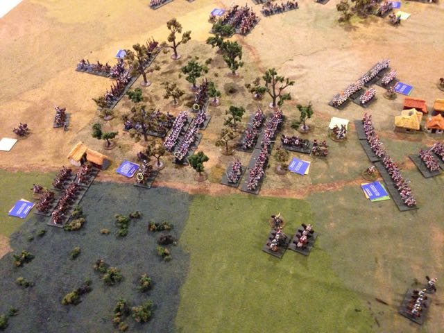 The Prussians continue to close the gap advancing, French light cavalry charge the landwehr cavalry covering their infantry's flank, make some progress but are ejected and fallback.
