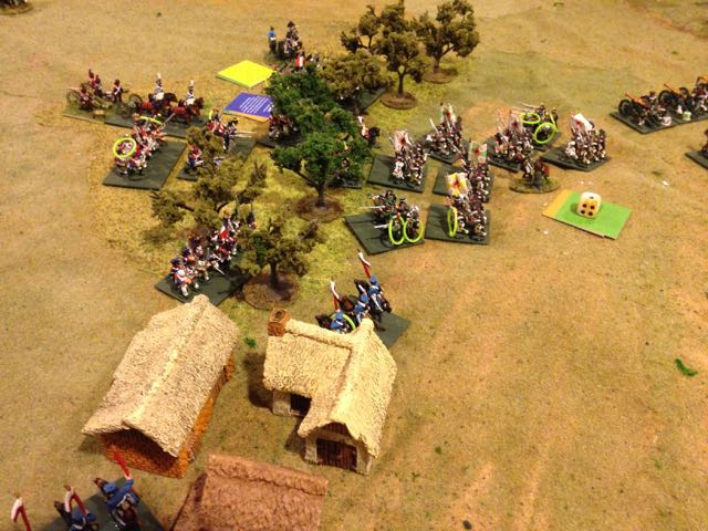 The fight over the woods flanking the Russian grand battery becomes desperate, the French are losing ground but the Russians are fatiguing faster.