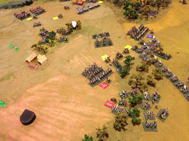 Bad dice are contagious, after 4 turns of fighting in the woods on the French right, the Russians break.