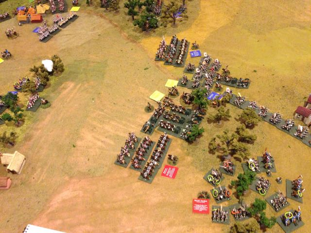 Watching their infantry support break and run, the Russian grand battery withdraws toward the rear.