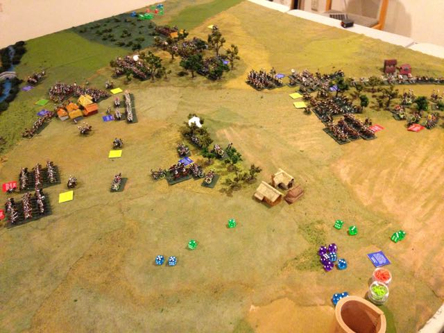 The battlefield at the end of turn 3, viewed from the extreme French right.