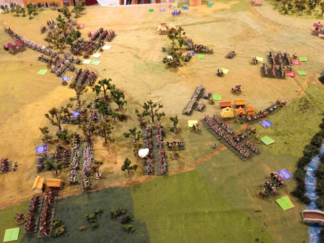 The battlefield at the start of turn 4, viewed from the Prussian right, new orders nearly everywhere.