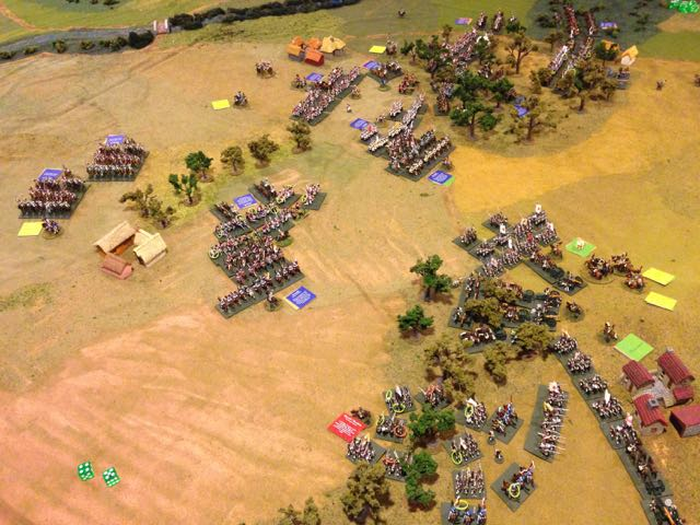 In a desperate move the Russians assault the advancing French right and center with their cavalry.