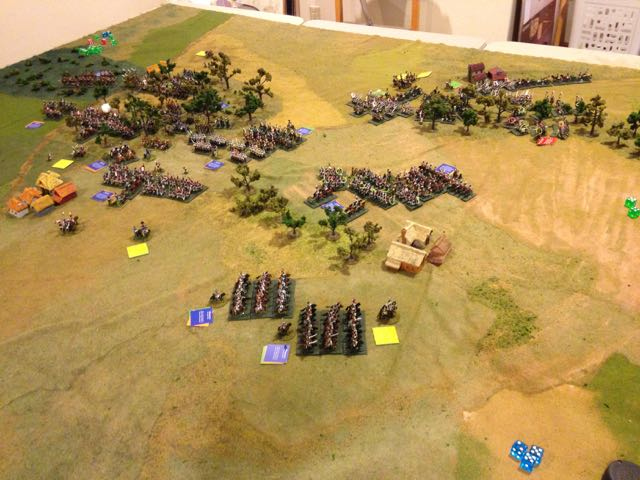 Overview of the battlefield from behind the French right as the Russian cavalry charge forward.