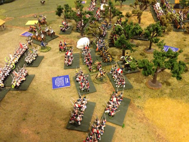 A fresh French division passes forward of the Saxons to hit the incoming Prussian assault.
