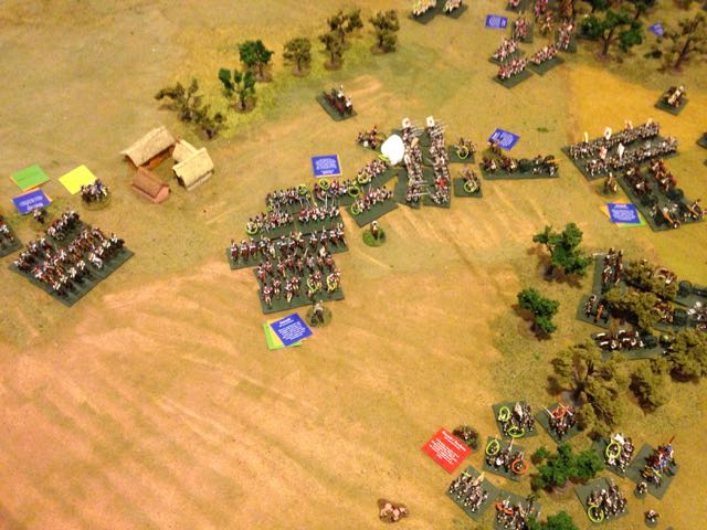 Moving back to the Allied left, the Russian cavalry, now supported by infantry collide with the advancing French.
