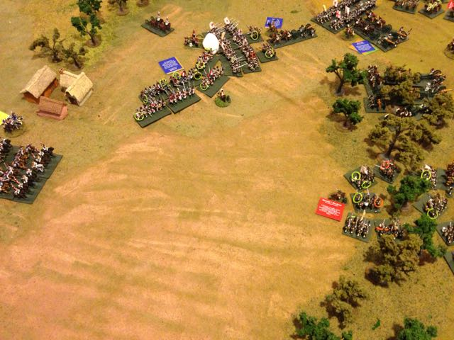 Despite the odds the dice fail the Russians, their cavalry disintigrates and their infantry gains no ground.