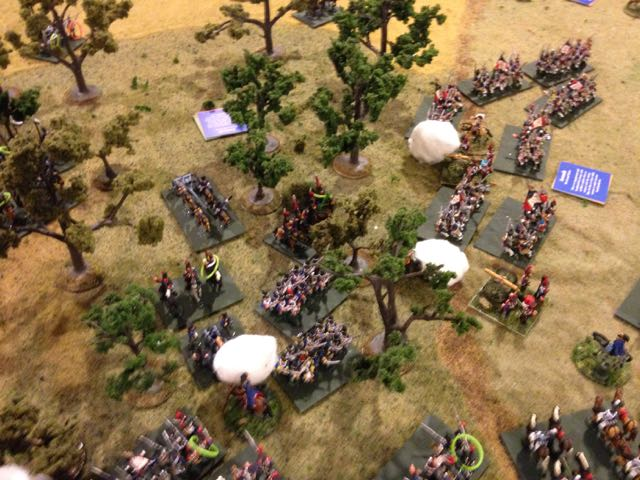 The Prussian grenadiers lose ground to the energized French defense and the offessive on the Allied right ceases.